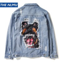 Vintage Denim Distressed Dog Print Jacket
