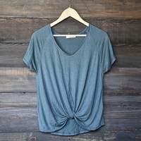 BSIC - front knot slouchy tee - vintage teal