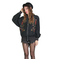 80s 90s Black Silk Bomber Jacket - Floral Embroidered - 100% Silk - 90s Jacket Coat - Slouchy Oversized - Grunge Goth Boho - Black Bomber