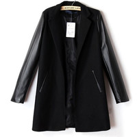 Faux Leather Long Sleeve Coat