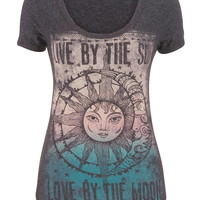 live by the sun, love by the moon graphic tee