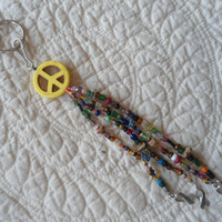 Beaded Key Chain or Purse/Bag Bling Boho/Hippie/Gypsy Yellow Turquoise Peace Sign with 4 Antiqued Silver Breast Cancer Awareness Ribbons