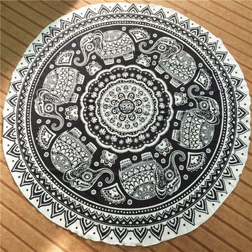 Round Beach Towel Cotton Scarf Shawl Yoga Mat Tapestry Wall Hanging