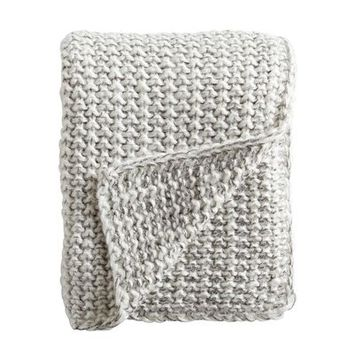 Silver Chunky Knit Throw
