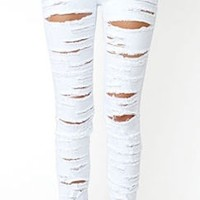 White Destroyed Ripped High Waist Stretch Skinny Pencil Jeans Denim Pants