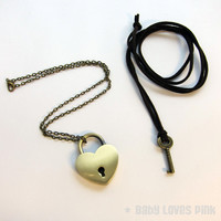 Bronze Heart Lock and Key Couples Necklace - Real working Lock Pendant  (R2F1)