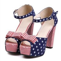 US Flag Print High Heel Sandals for Women NBS061618 from topsales