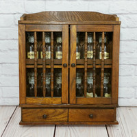 Vintage Wood Spice Cabinet Rack With Bottles Apothecary Kitchen