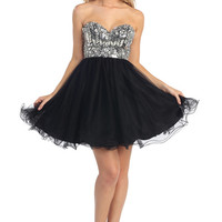 Short Prom Dress with Sequin Bodice in Black