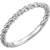 14K White Stackable Rope Ring
