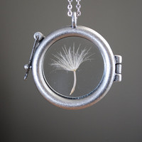 Round Dandelion Seed Necklace Dandelion Necklace Glass Locket