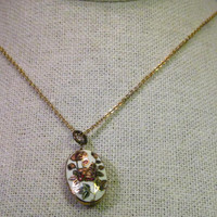 """Vintage Gold Tone Oval Cloisonne Rose Pendant with 18"""" chain, 1970-1980's"""