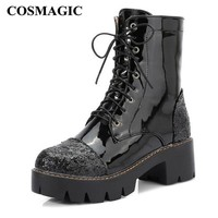 COSMAGIC 2018 New Women Platform Ankle Motorcycle Boot Patent Leather Fashion Gothic Punk Square Heel Lace Up Short Botas Mujer