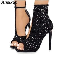 Crystal Women Pumps Design Sexy Gladiator High Heels Rhinestone Buckle Strap Party Shoes