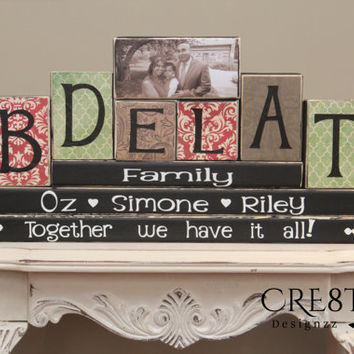 Family Name Wood Blocks (8 Letters) Personalized