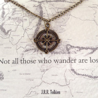 """Lord of the Rings Necklace """"Not all who wander are lost"""" Compass Charm Tolkien Quote"""