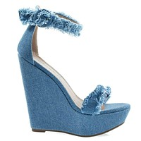 Vivi70 Frayed Frizzy Trimming, High Platform Wedge Sandal w Ankle Strap