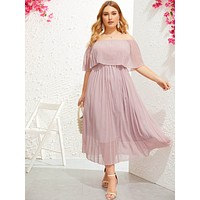 Plus Off Shoulder Pleated Dress