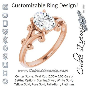 Cubic Zirconia Engagement Ring- The Paisley (Customizable Oval Cut Solitaire with Band Flourish and Decorative Trellis)