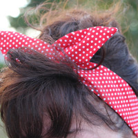 Rosie the Riveter Dolly Bow Wire Headband Red White Polka Dots Halloween Rockabilly Pin Up Hair Accessory for Teens Women Girls