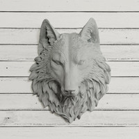 The Sierra in Gray - Wolf Faux Taxidermy Fauxidermy Fake Animal Head Mount - Forestative Ceramic Plastic Resin Wall Forest Mounted Replica