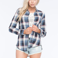 Vans Day Tripper Womens Flannel Shirt Blue Combo  In Sizes