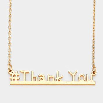 """""""Thank you"""" Bar Pendant Necklace for Women"""