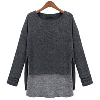 Women Fashion Autumn and Winter Collect Waist Fake 2 Pieces Knitting Sweater Top Blouse = 1667436868
