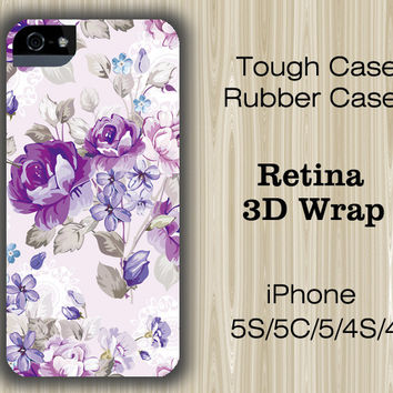 Vintage Purple Floral iPhone 6/5S/5C/5/4S/4 Case