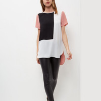 SIMPLE - Chiffon Mixed Color Loose Round Necked Short Sleeve T-Shirt a12632