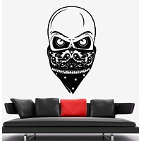 Vinyl Wall Decal Skull Face Bandana Bandit Style Teenager Room Stickers Unique Gift (1808ig)