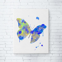 Gallery Wrapped Canvas - Butterfly Watercolor Art, Modern Painting, Living Room Decor, Gift Idea, Butterfly Art Print, Girls Wall Art, Blue