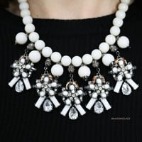 Afternoon Out Ivory & Hematite Glam Statement Necklace