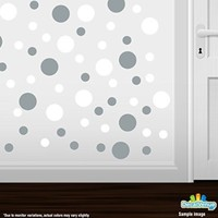 Set of 30 - White / Metallic Silver Circles Polka Dots Vinyl Wall Graphic Decals Stickers