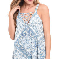 Wild At Heart Printed Lace Up Tank Top