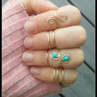 midi, ring, wire, minimalist, gypsy, boho, hipster, hippie, beach, beaded, turquoise, stackable, stacked, layered, gold, stack, adjustable