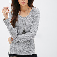 Crochet-Paneled Marled Top
