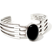 Mexican Sterling Onyx Cuff, Modernist Sterling Silver Bracelet, Geometric Cut Out Design, Oval Banded Black Onyx, Vintage 1980's  TS-102