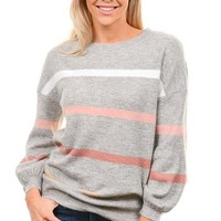 Gray Blush Striped Balloon Sleeve Sweater