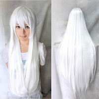 Womens/Ladies 80cm Pure White Color Long STRAIGHT Cosplay/Costume/Anime/Party/Bangs Full Sexy Wig(80cm,Straight,White)