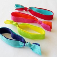 4 Double Elastic Ribbon Hair Ties by Lucky Girl Brand