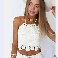 Women Crop Top Halter Crochet Tops Halter Bralette Vintage Lace Camisole Bandage Backless Top 2016 Summer Fashion