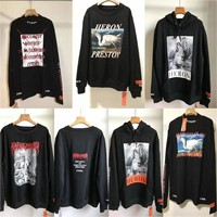 Streetwear Heron Preston Sweatshirts Black White Crane Heron Preston Hoodie Men Women CTNNB Embroidery Heron Preston Sweatshirts