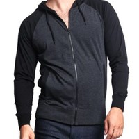 Victorious Men's Raglan Light Weight Zip Down Hoodie Fitness Sweater-TH864-A4G
