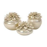 IMAX 25065-3 Blair Hand-Sculpted Floral Boxes - Set of Three