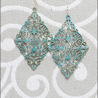 Large Blue and Gold Paisley Carved Earrings [SP2530] - $9.99 : Mikarose Fashion, Reinventing Modest Fashion