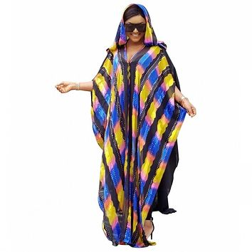 African Dresses For Women Coloful Striped Chiffon Abaya Dress With Hood Plus Size Maxi Long Dress Gowns With Long Inner Wear