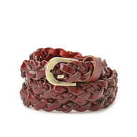 FOREVER 21 Faux Leather Braided Belt Brown