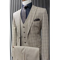 Checked Brown Vested Suit Set