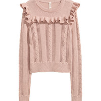 Knit Sweater with Ruffle - from H&M